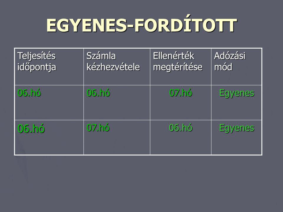 EGYENES-FORDÍTOTT Teljesítés időpontja Számla kézhezvétele