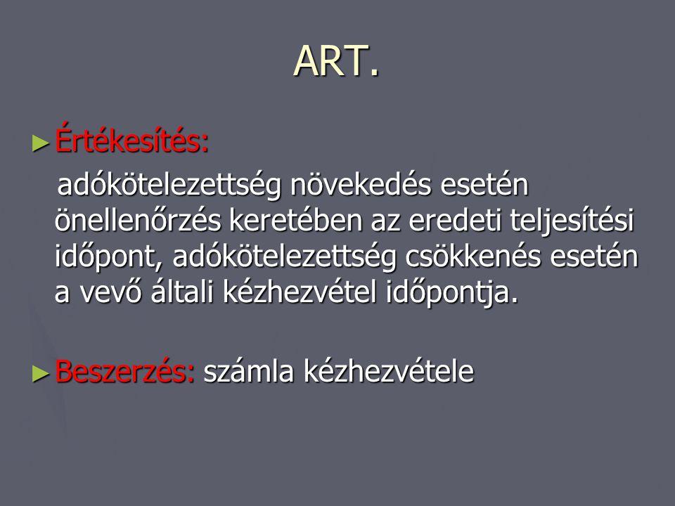 ART. Értékesítés: