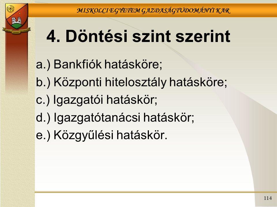 4. Döntési szint szerint a.) Bankfiók hatásköre;