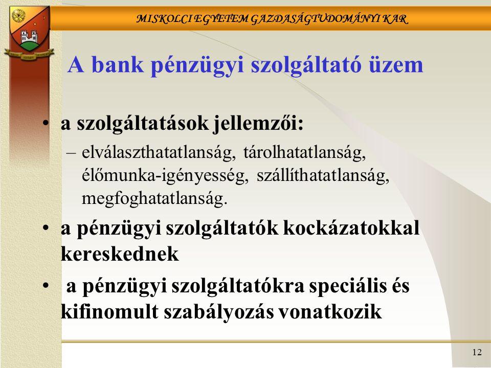 A bank pénzügyi szolgáltató üzem