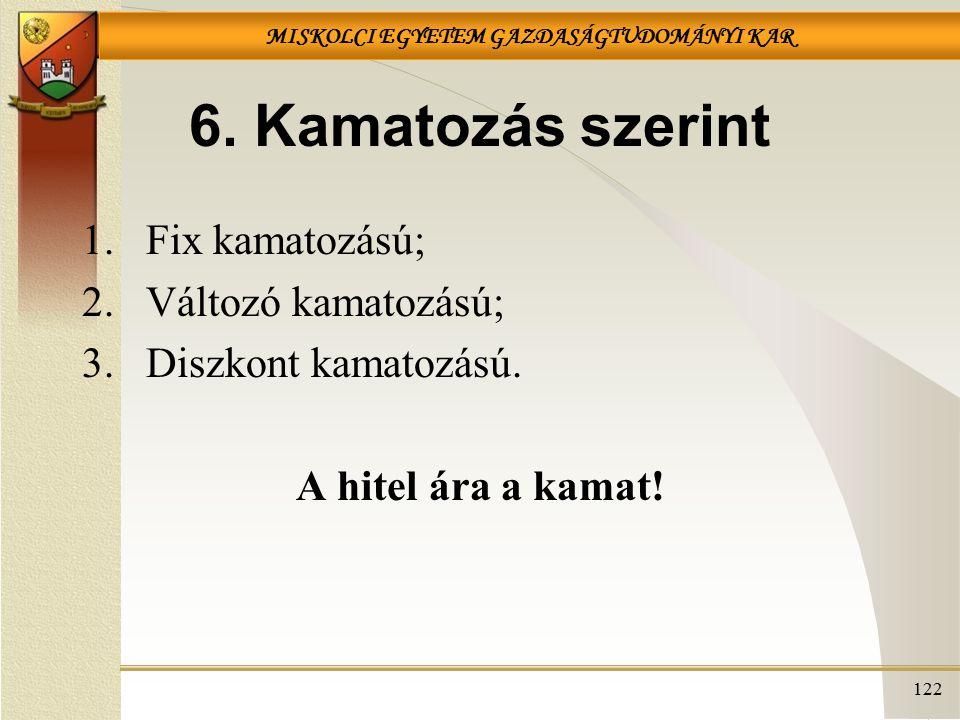 6. Kamatozás szerint Fix kamatozású; Változó kamatozású;
