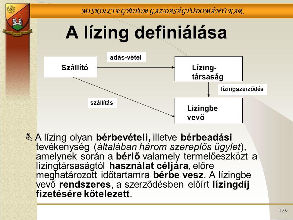 A lízing definiálása Szállító. Lízing- társaság. Lízingbe vevő. adás-vétel. lízingszerződés. szállítás.
