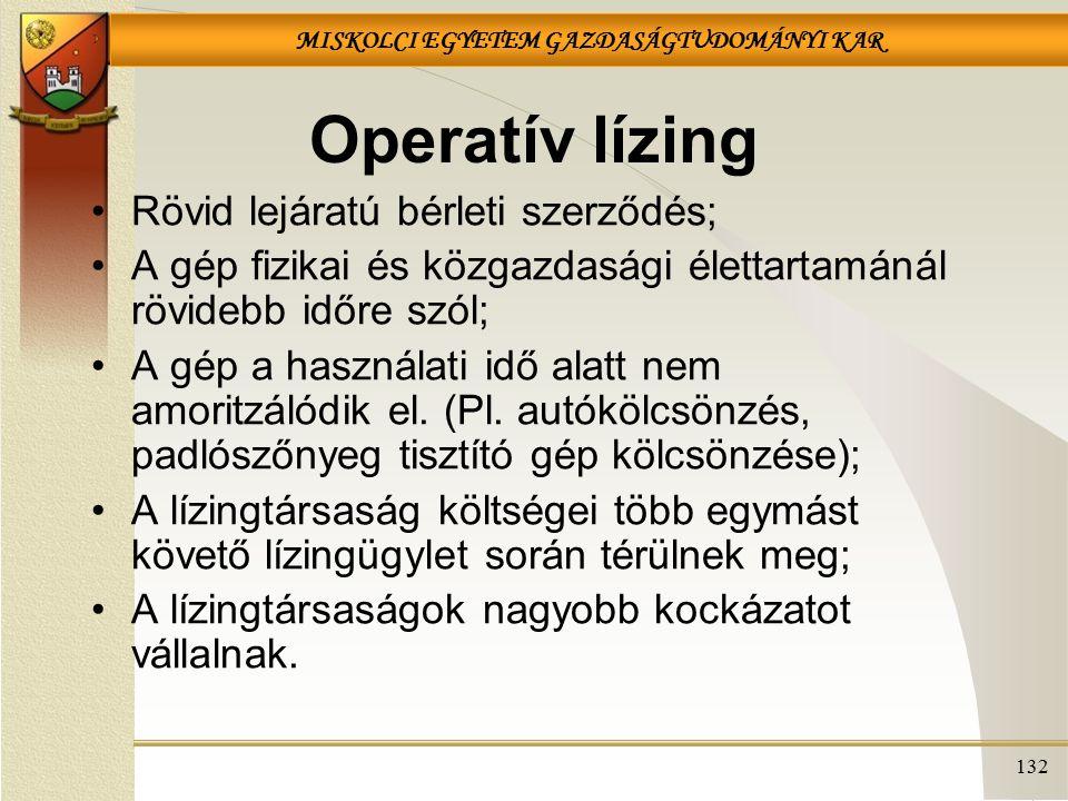 Operatív lízing Rövid lejáratú bérleti szerződés;