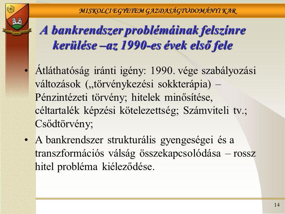 A bankrendszer problémáinak felszínre kerülése –az 1990-es évek első fele
