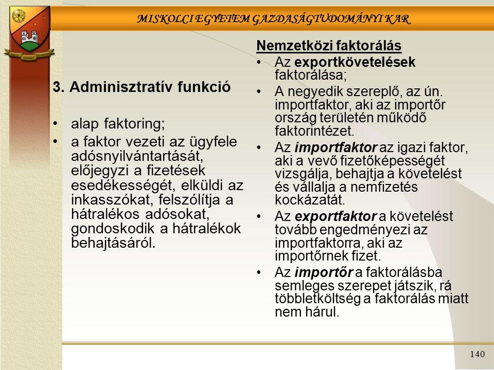 3. Adminisztratív funkció alap faktoring;
