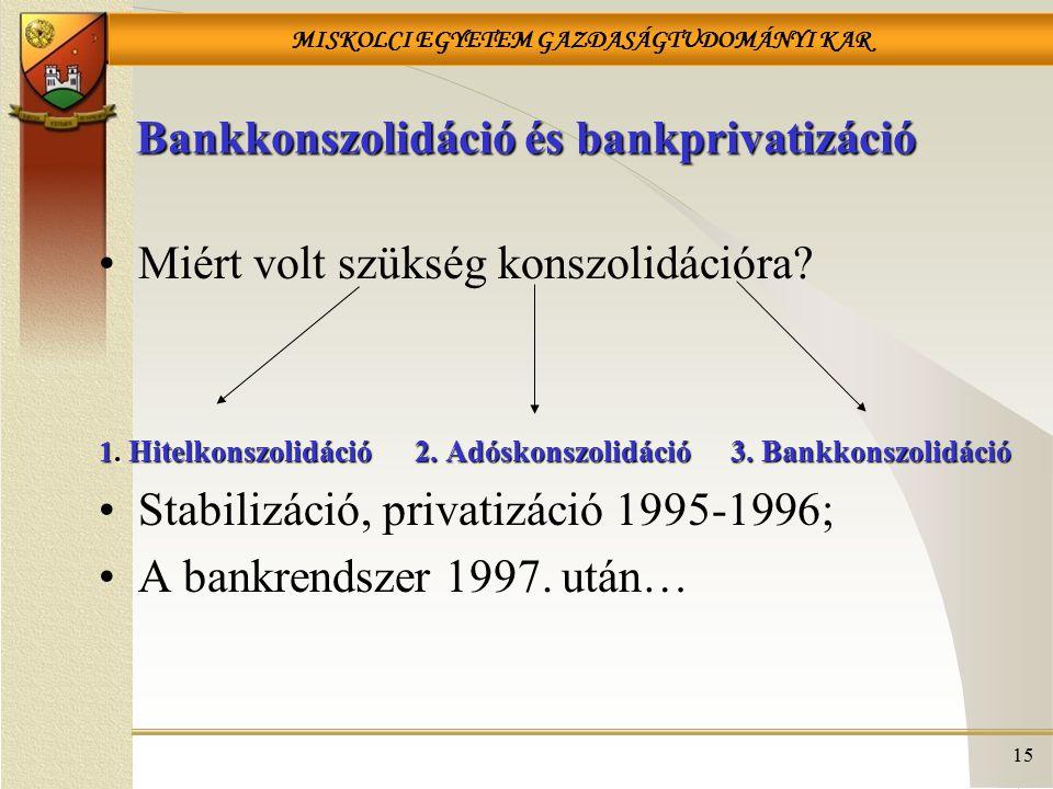 Bankkonszolidáció és bankprivatizáció