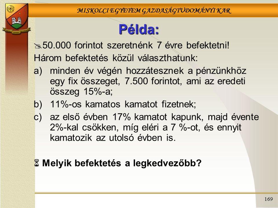 Példa: 50.000 forintot szeretnénk 7 évre befektetni!