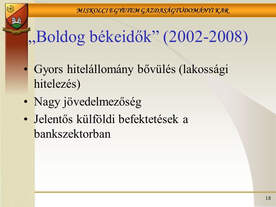 """""""Boldog békeidők (2002-2008) Gyors hitelállomány bővülés (lakossági hitelezés) Nagy jövedelmezőség."""
