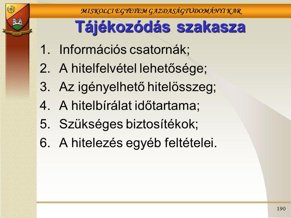 Tájékozódás szakasza Információs csatornák;