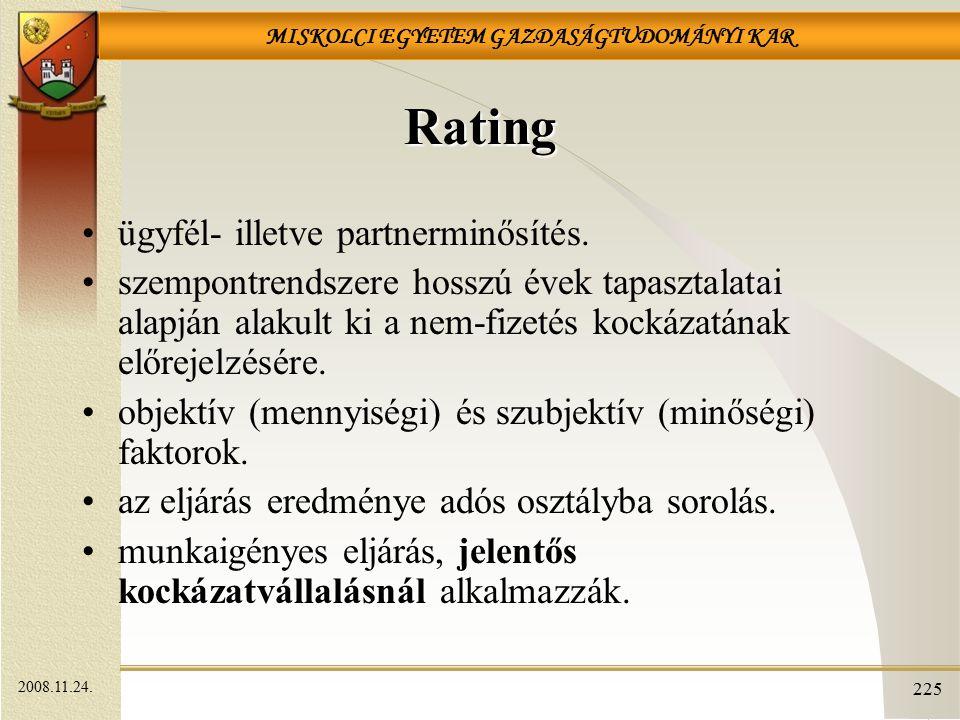 Rating ügyfél- illetve partnerminősítés.