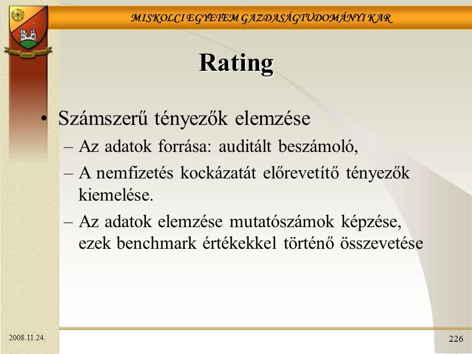 Rating Számszerű tényezők elemzése