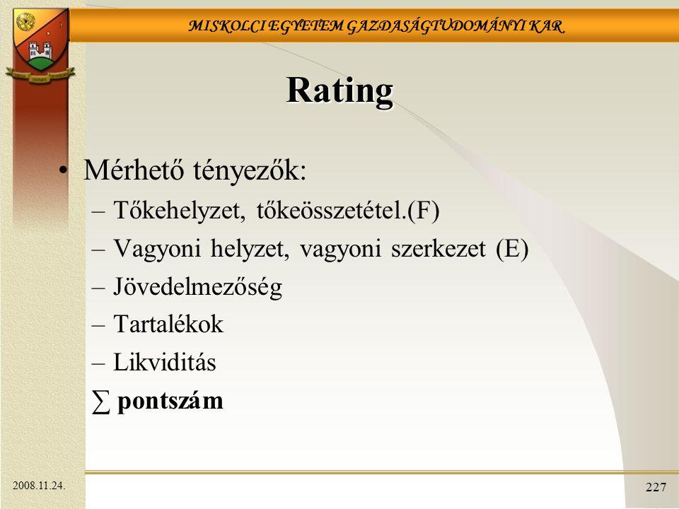 Rating Mérhető tényezők: Tőkehelyzet, tőkeösszetétel.(F)