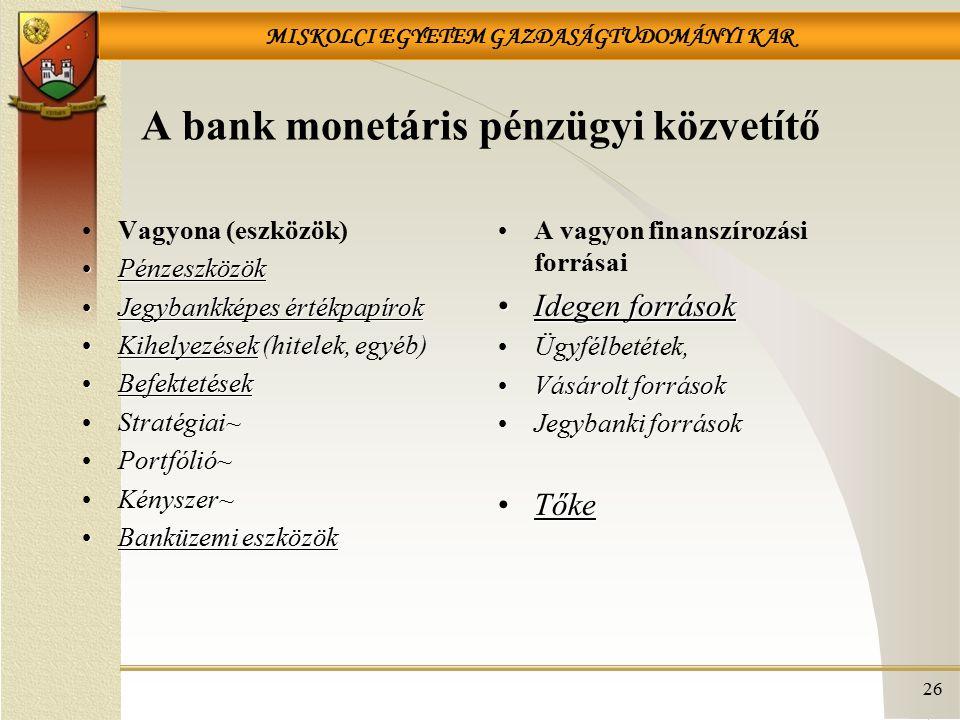 A bank monetáris pénzügyi közvetítő