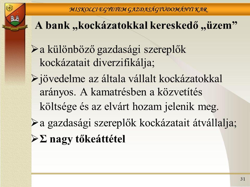 """A bank """"kockázatokkal kereskedő """"üzem"""