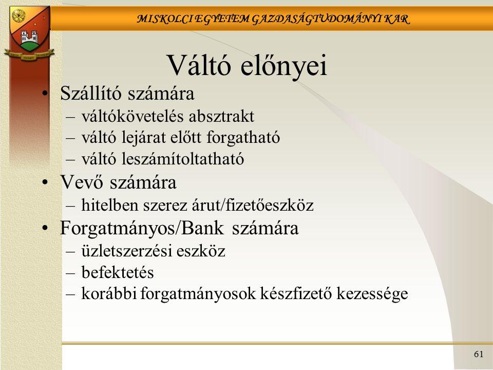 Váltó előnyei Szállító számára Vevő számára Forgatmányos/Bank számára