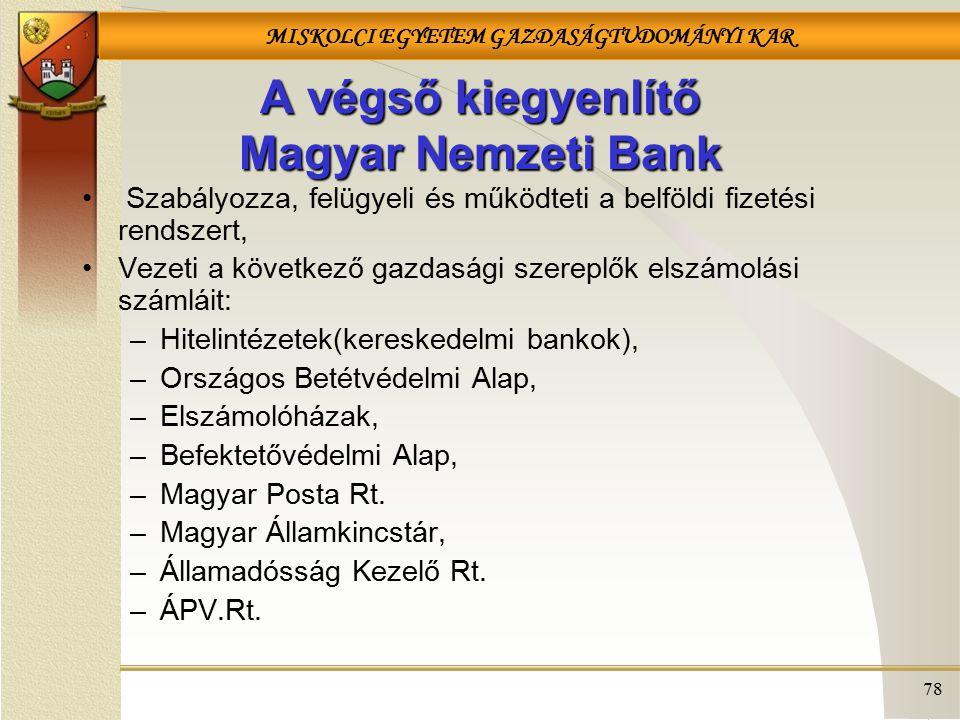 A végső kiegyenlítő Magyar Nemzeti Bank