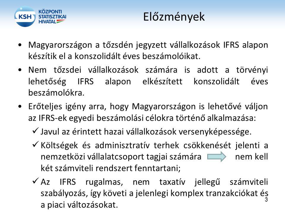 Előzmények Magyarországon a tőzsdén jegyzett vállalkozások IFRS alapon készítik el a konszolidált éves beszámolóikat.