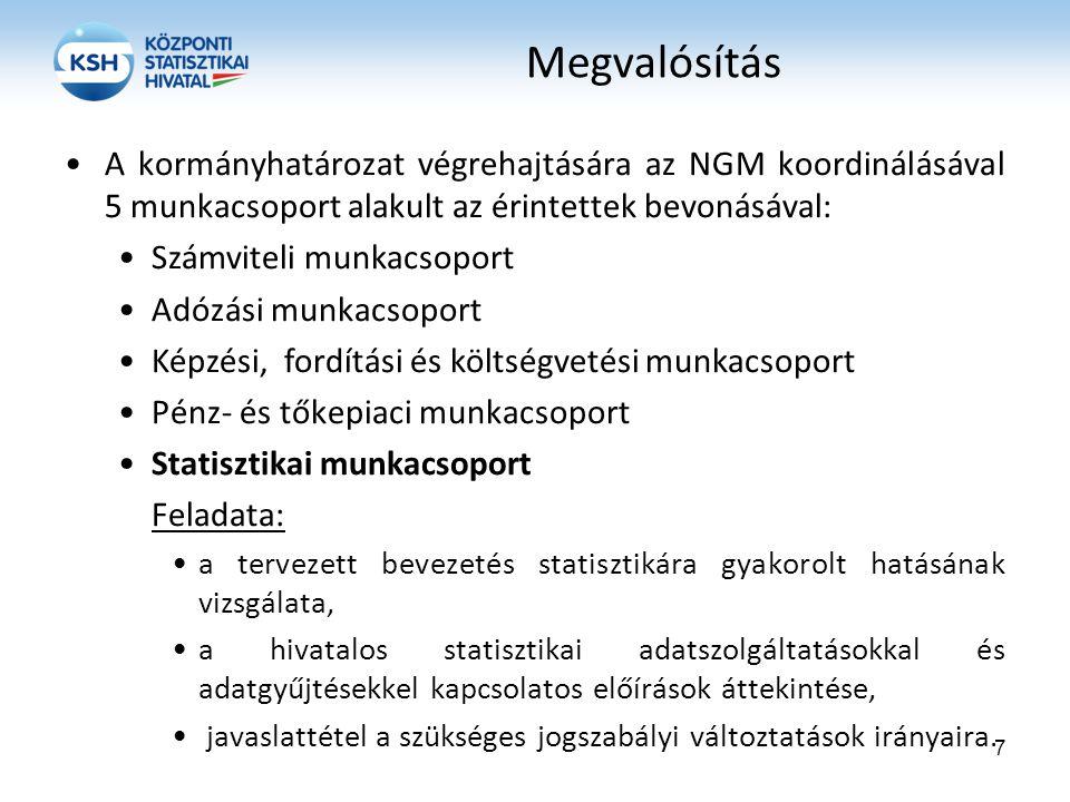 Megvalósítás A kormányhatározat végrehajtására az NGM koordinálásával 5 munkacsoport alakult az érintettek bevonásával: