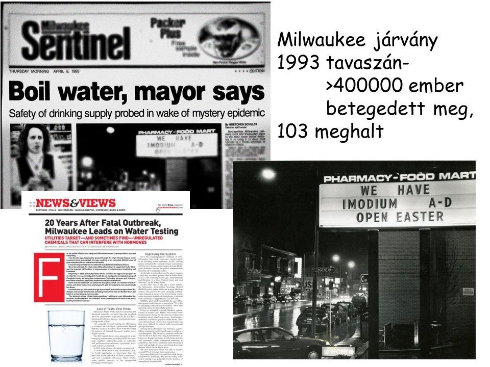 Milwaukee járvány 1993 tavaszán- >400000 ember betegedett meg,