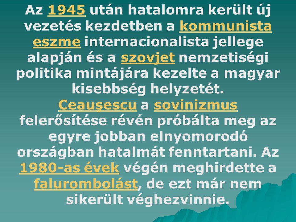 Az 1945 után hatalomra került új vezetés kezdetben a kommunista eszme internacionalista jellege alapján és a szovjet nemzetiségi politika mintájára kezelte a magyar kisebbség helyzetét.