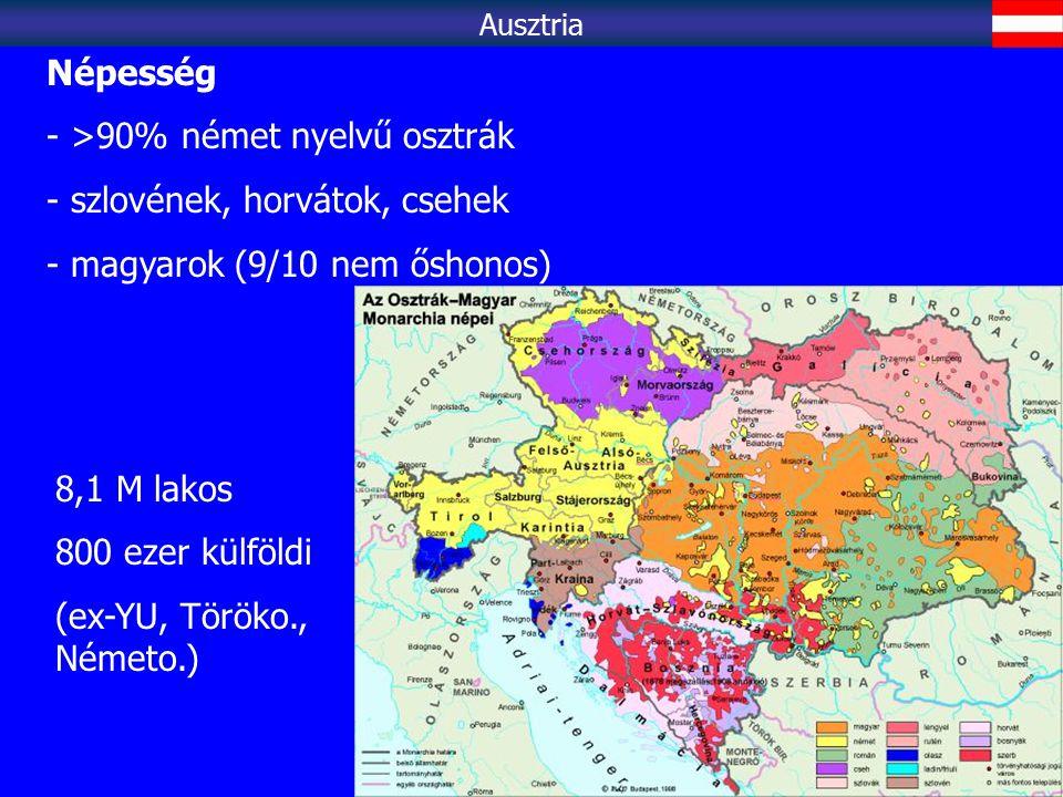 >90% német nyelvű osztrák szlovének, horvátok, csehek