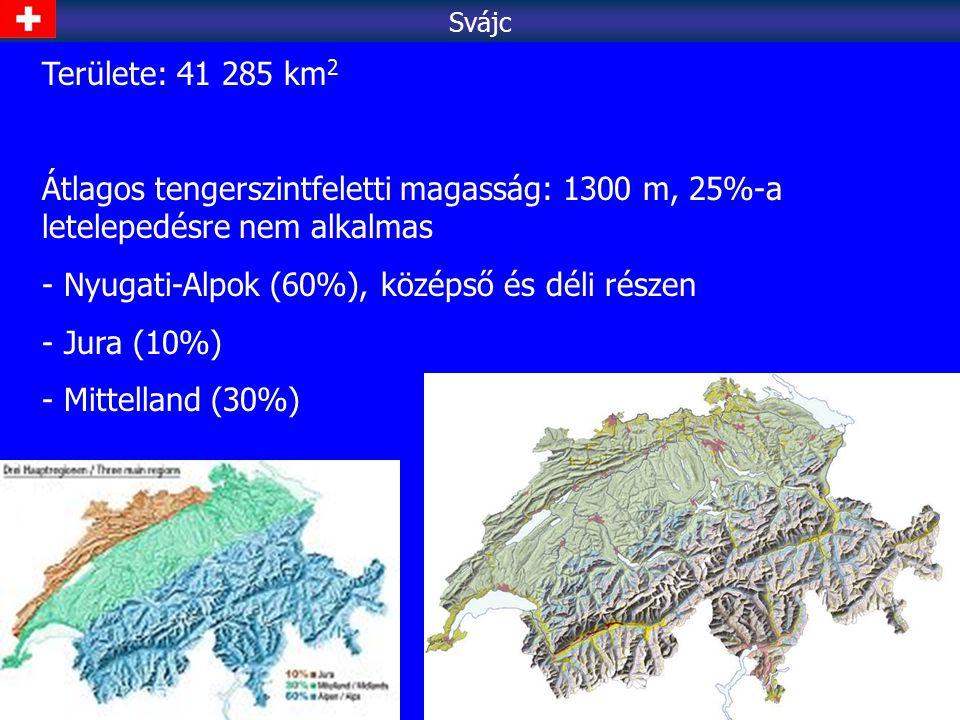 Nyugati-Alpok (60%), középső és déli részen Jura (10%)