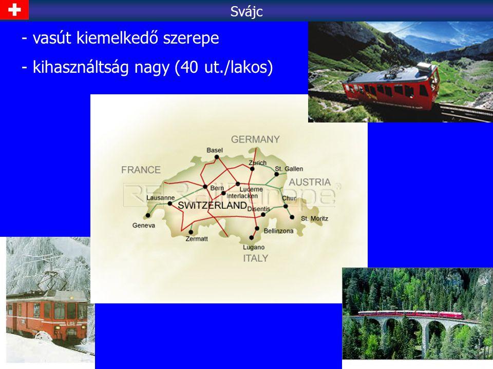 vasút kiemelkedő szerepe kihasználtság nagy (40 ut./lakos)