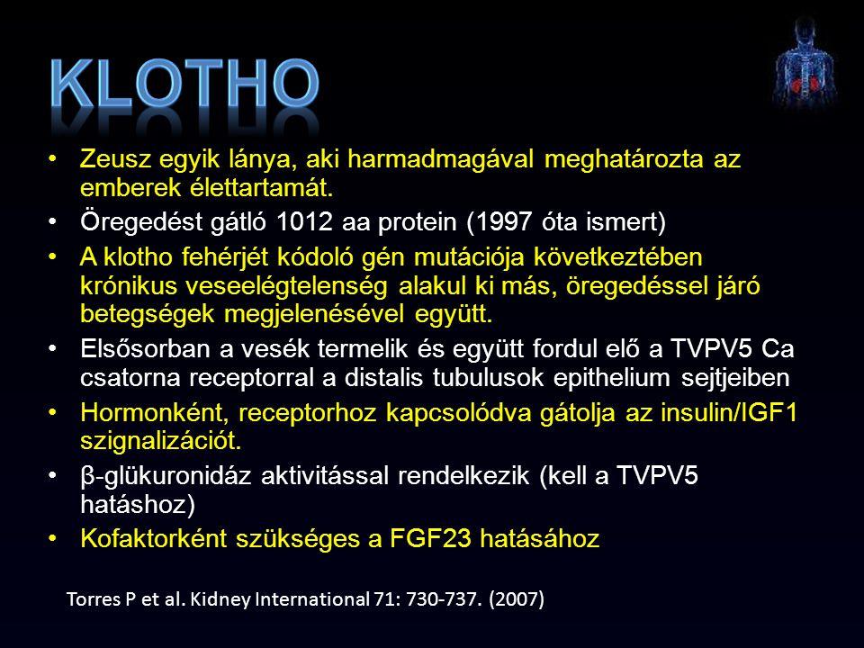 Klotho Zeusz egyik lánya, aki harmadmagával meghatározta az emberek élettartamát. Öregedést gátló 1012 aa protein (1997 óta ismert)