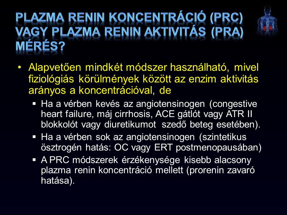 plazma renin koncentráció (PRC) vagy plazma renin aktivitás (PRA) mérés