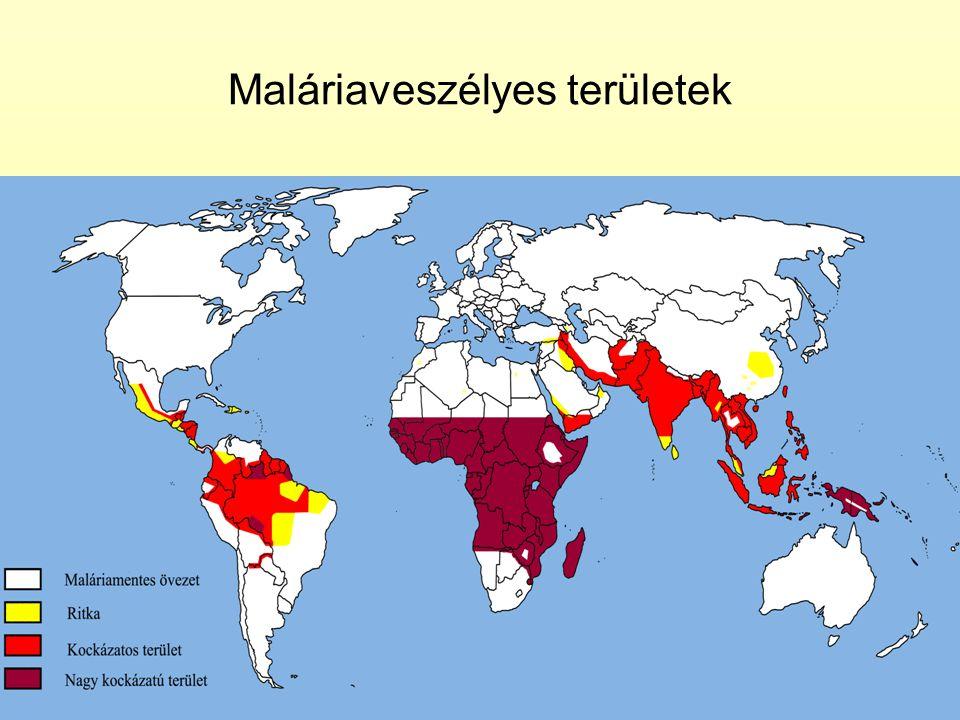 Maláriaveszélyes területek