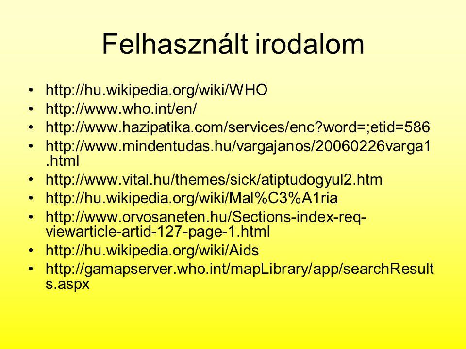 Felhasznált irodalom http://hu.wikipedia.org/wiki/WHO
