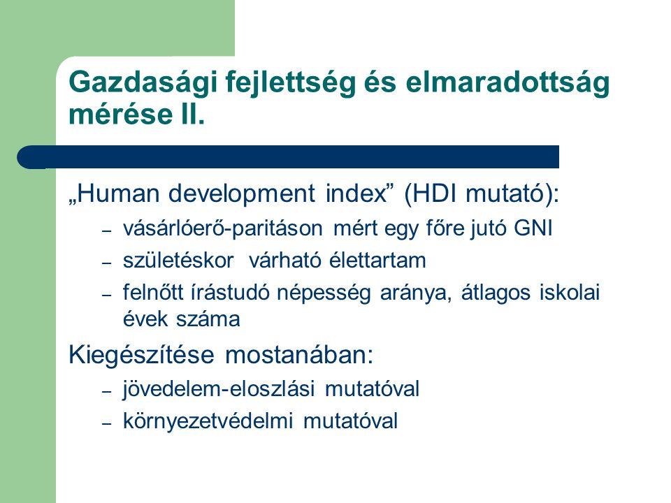 Gazdasági fejlettség és elmaradottság mérése II.