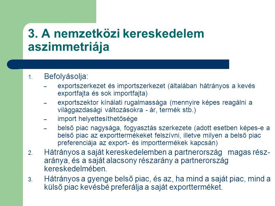 3. A nemzetközi kereskedelem aszimmetriája