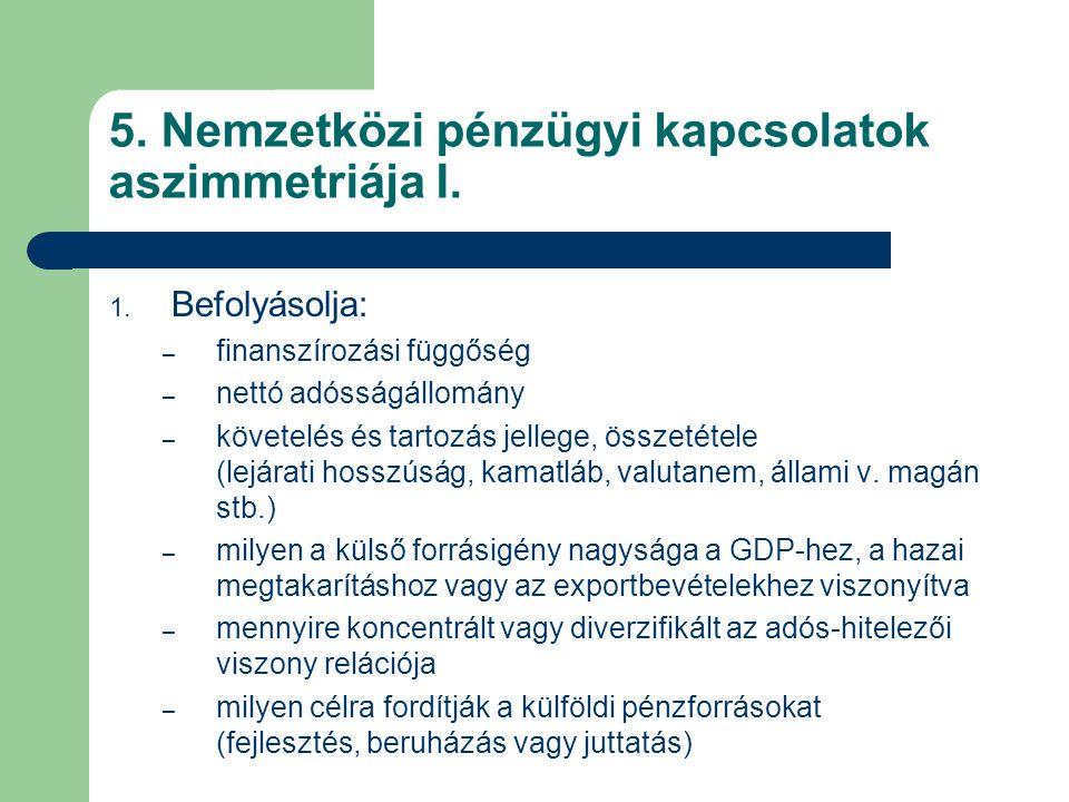 5. Nemzetközi pénzügyi kapcsolatok aszimmetriája I.