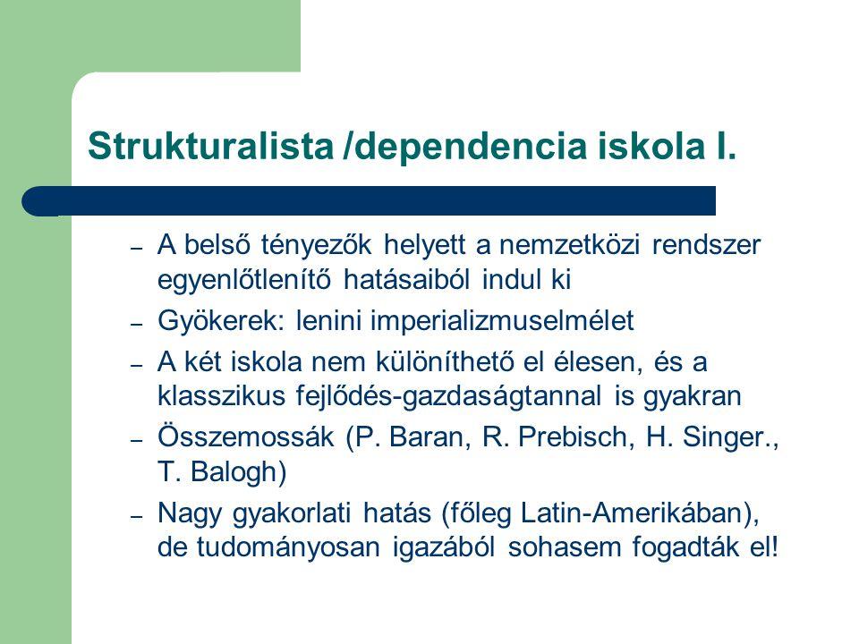 Strukturalista /dependencia iskola I.
