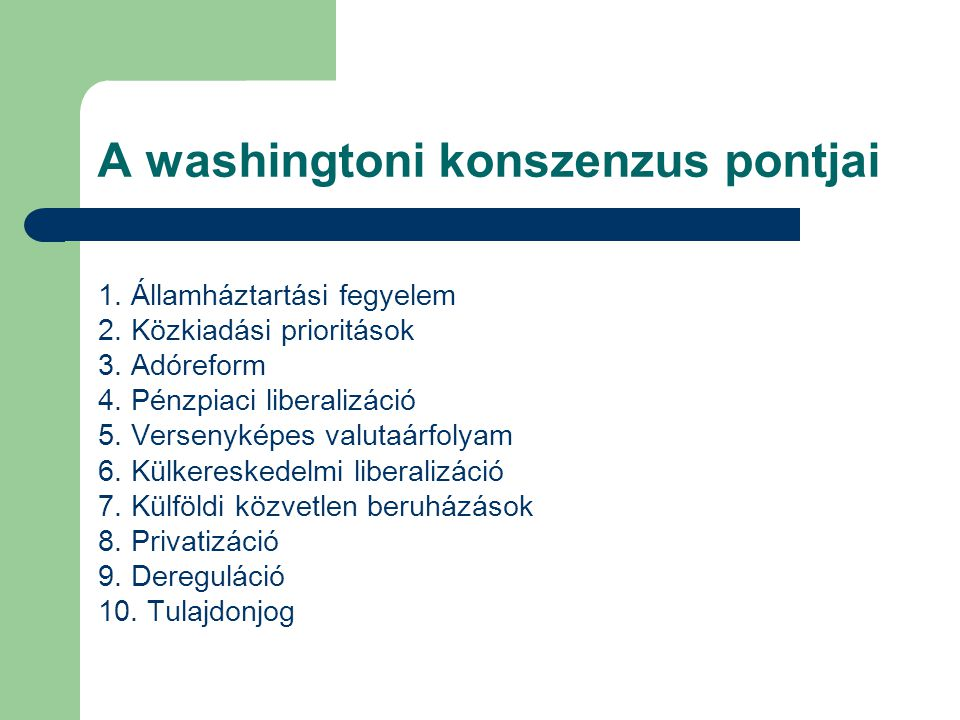 A washingtoni konszenzus pontjai