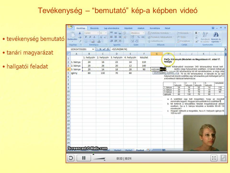 Tevékenység – bemutató kép-a képben videó