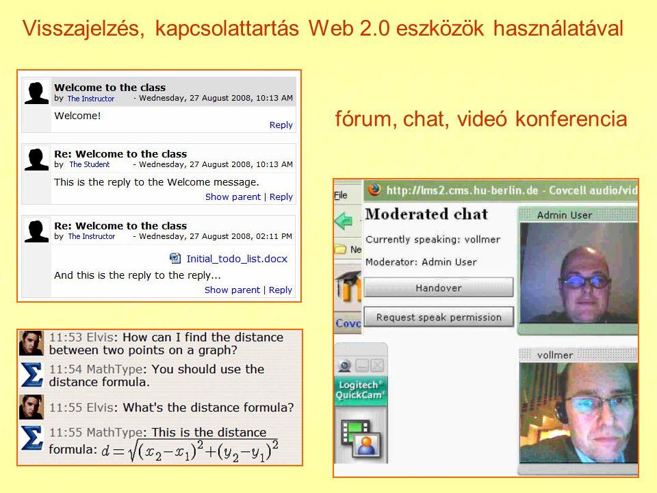Visszajelzés, kapcsolattartás Web 2.0 eszközök használatával