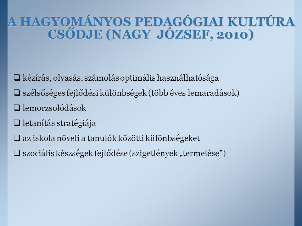 A HAGYOMÁNYOS PEDAGÓGIAI KULTÚRA CSŐDJE (NAGY JÓZSEF, 2010)