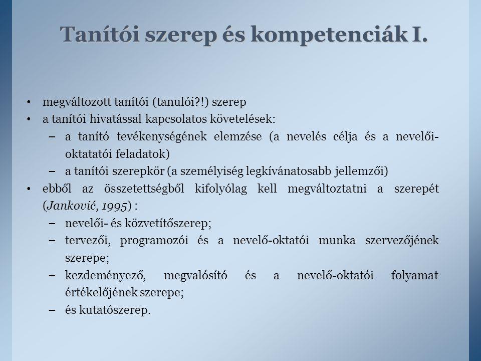 Tanítói szerep és kompetenciák I.