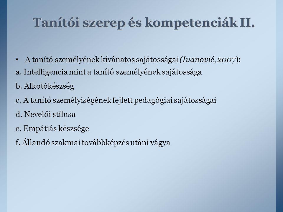 Tanítói szerep és kompetenciák II.