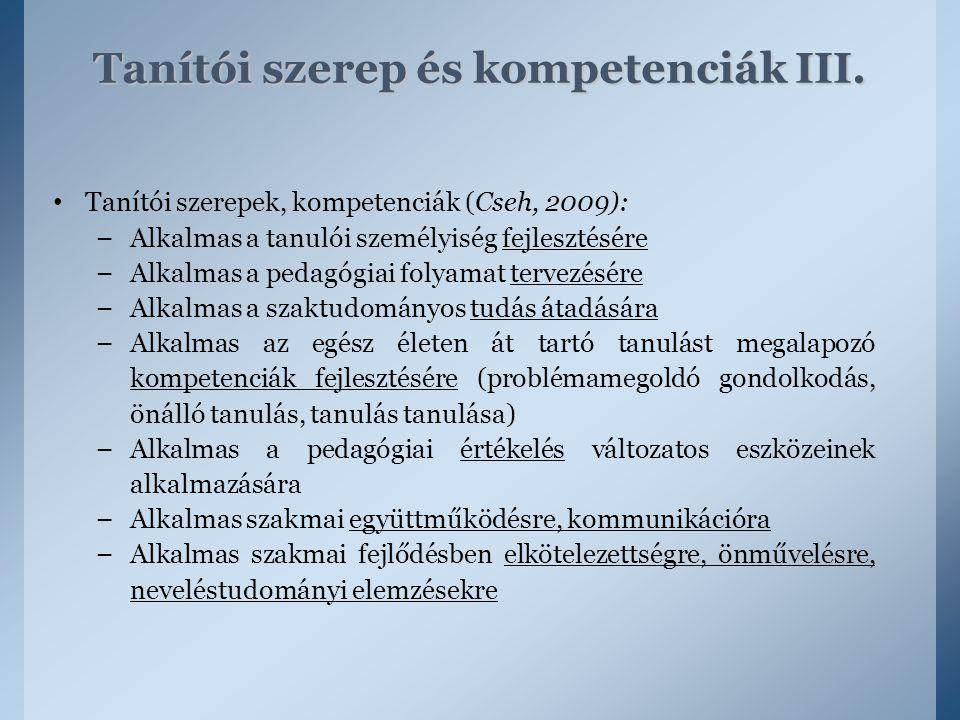 Tanítói szerep és kompetenciák III.