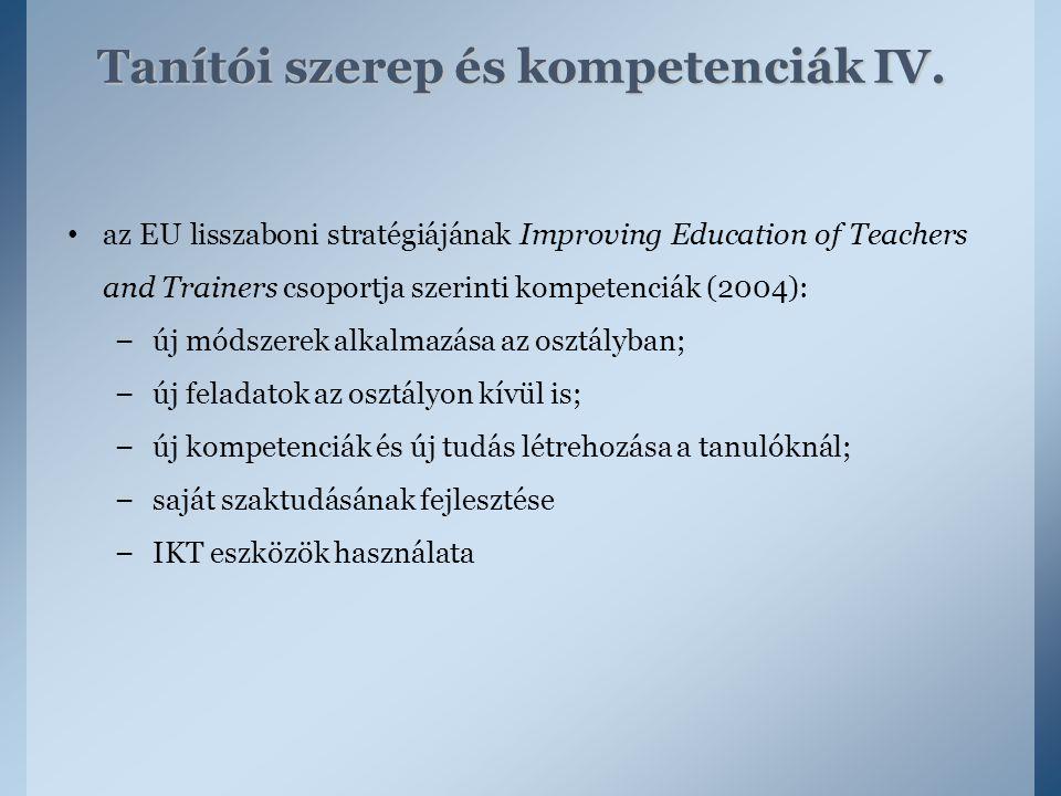 Tanítói szerep és kompetenciák IV.