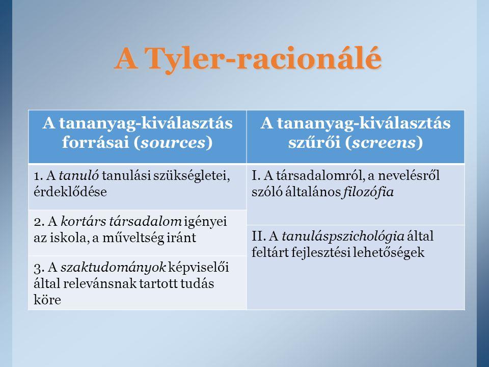 A Tyler-racionálé A tananyag-kiválasztás forrásai (sources)