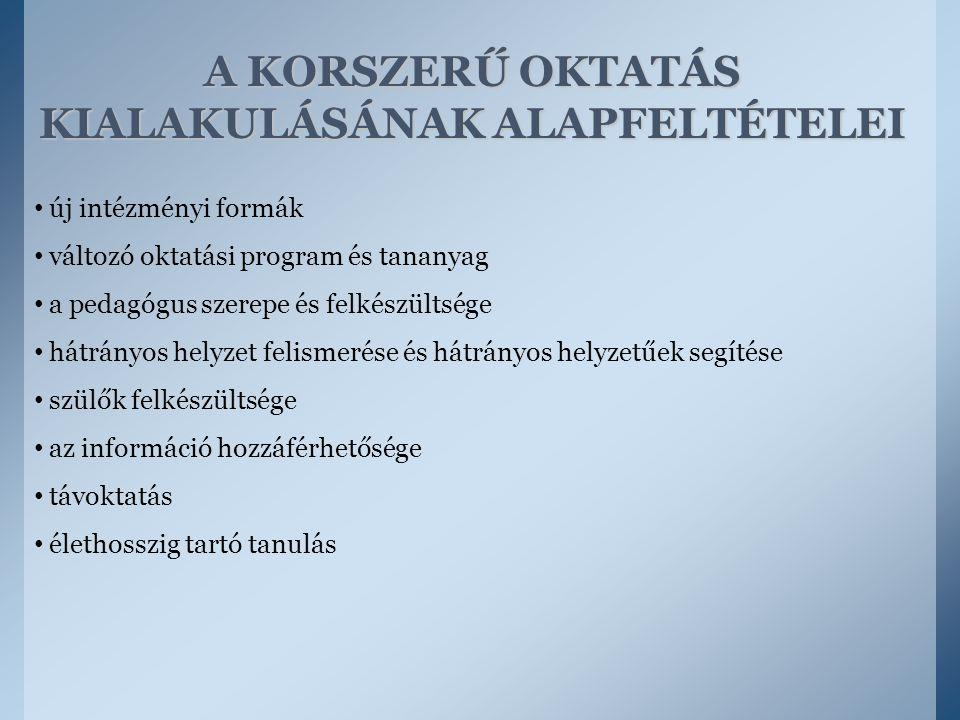 A KORSZERŰ OKTATÁS KIALAKULÁSÁNAK ALAPFELTÉTELEI