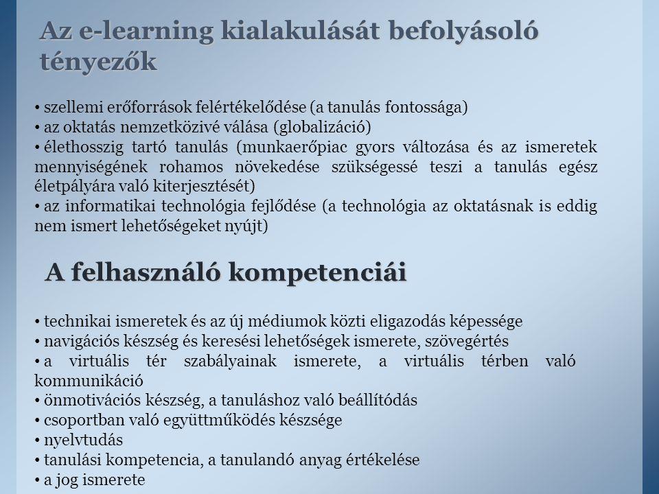 Az e-learning kialakulását befolyásoló tényezők