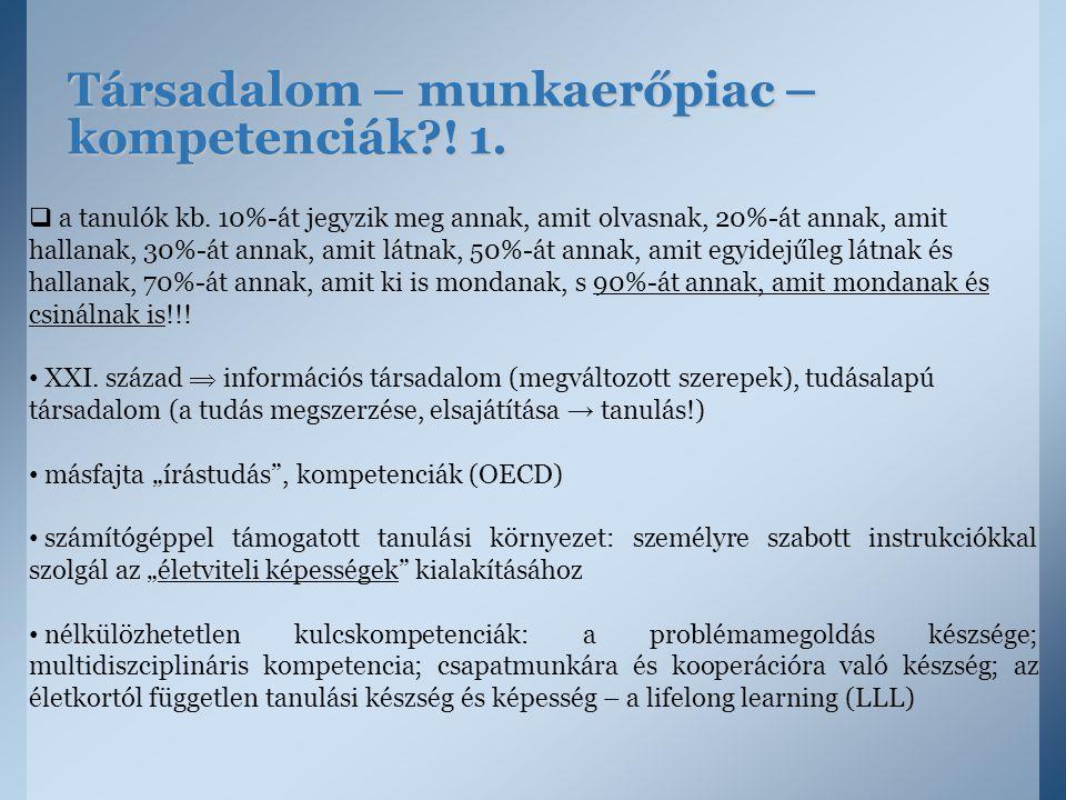 Társadalom – munkaerőpiac – kompetenciák ! 1.