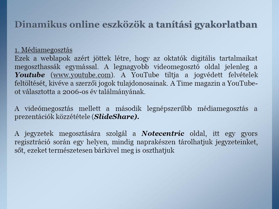 Dinamikus online eszközök a tanítási gyakorlatban