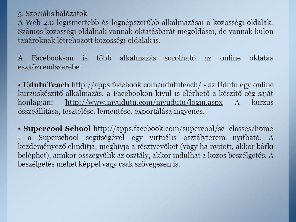 5. Szociális hálózatok