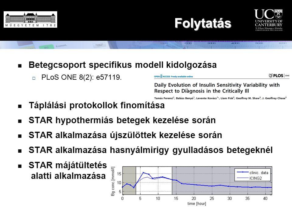 Folytatás Betegcsoport specifikus modell kidolgozása